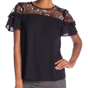 Cece by Cynthia Steffe Embroidered Mesh Yoke Top